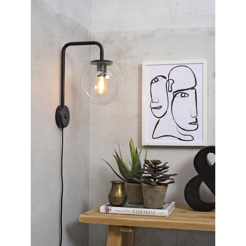 it's about RoMi-collectie Wandlamp ijzer/glas Warsaw zwart