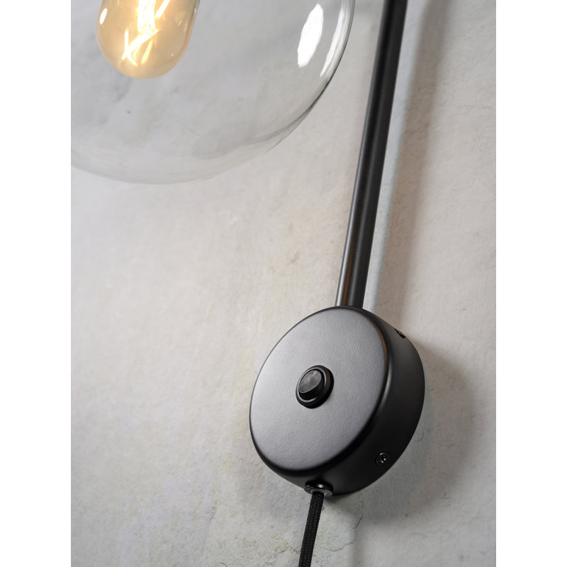 it's about RoMi-collectie Wall lamp iron/glass Warsaw black