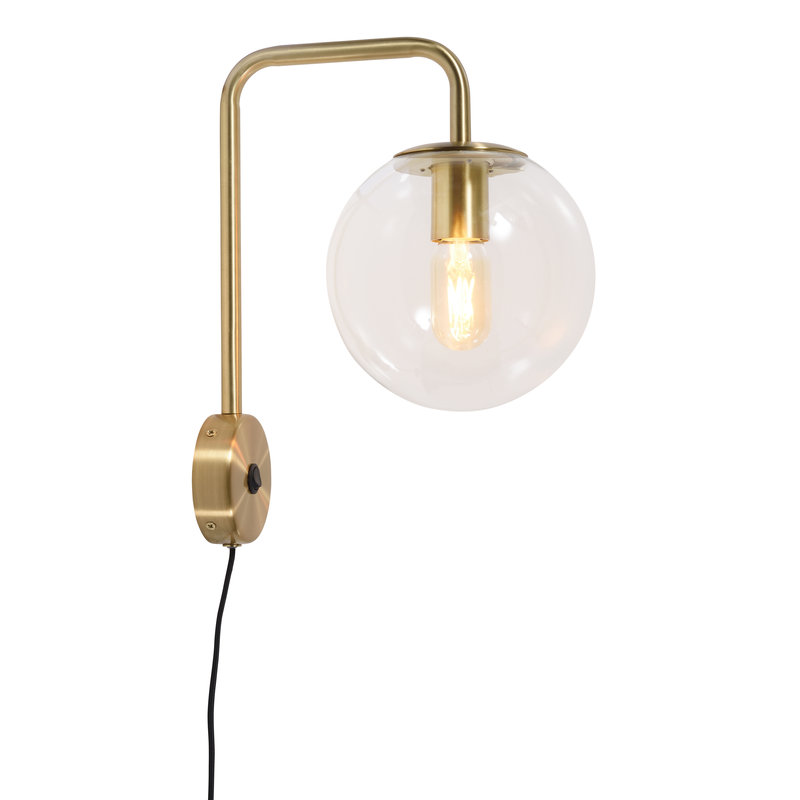 it's about RoMi-collectie Wandlamp ijzer/glas Warsaw goud