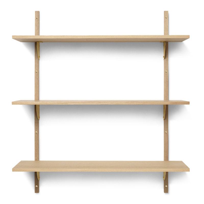 ferm LIVING-collectie Houten wandrek Sector Shelf T/W - eiken - Brass