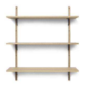 ferm LIVING Houten wandrek Sector Shelf T/W - eiken - zwart Brass
