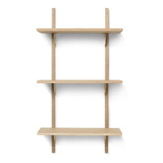 ferm LIVING Houten wandrek Sector Shelf T/N - eiken - Brass