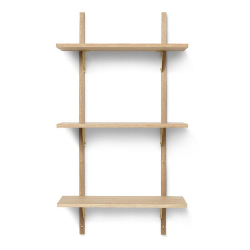 ferm LIVING-collectie Houten wandrek Sector Shelf T/N - eiken - Brass