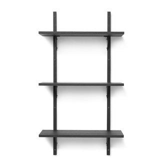 ferm LIVING Houten wandrek Sector Shelf T/N - zwart Ash-zwart Brass