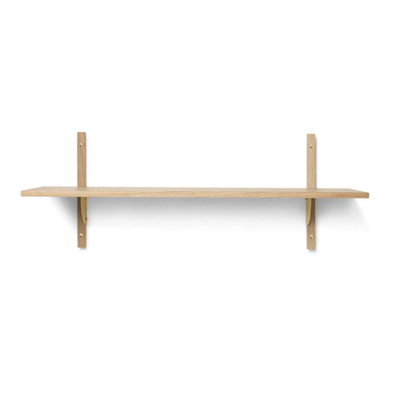 ferm LIVING-collectie Houten wandrek Sector Shelf S/W - eiken - Brass
