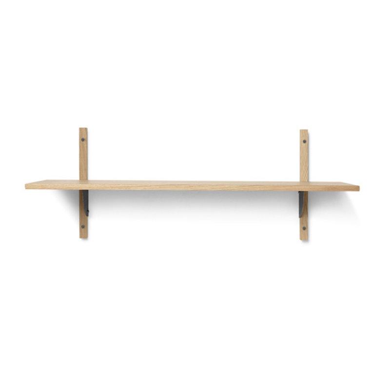 ferm LIVING-collectie Houten wandrek Sector Shelf S/W - eiken - zwart Brass