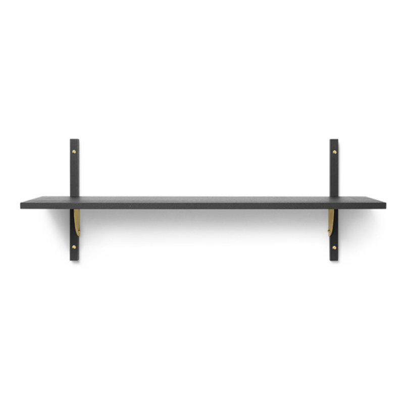 ferm LIVING-collectie Houten wandrek Sector Shelf S/W - zwart Ash-Brass