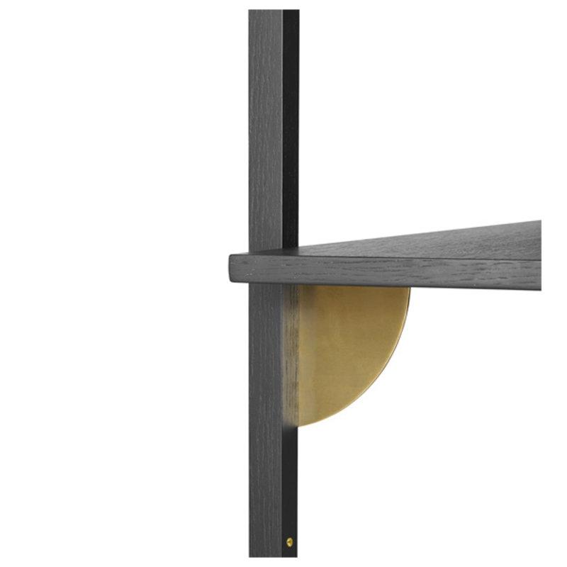 ferm LIVING-collectie Sector Shelf S/W - Black Ash-Brass