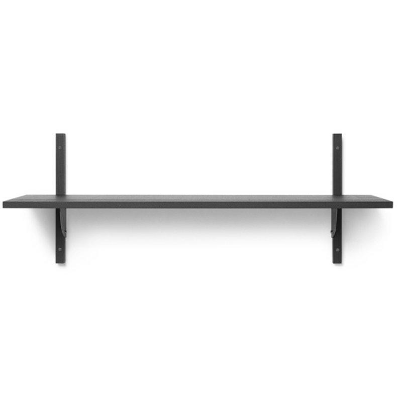 ferm LIVING-collectie Houten wandrek Sector Shelf S/W - zwart Ash-zwart Brass