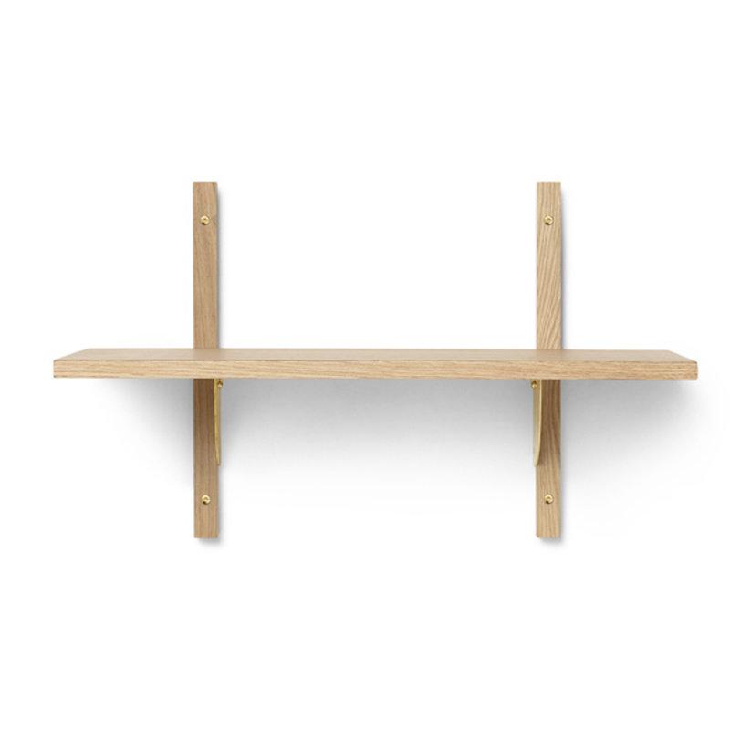 ferm LIVING-collectie Houten wandrek Sector Shelf S/N - eiken - Brass