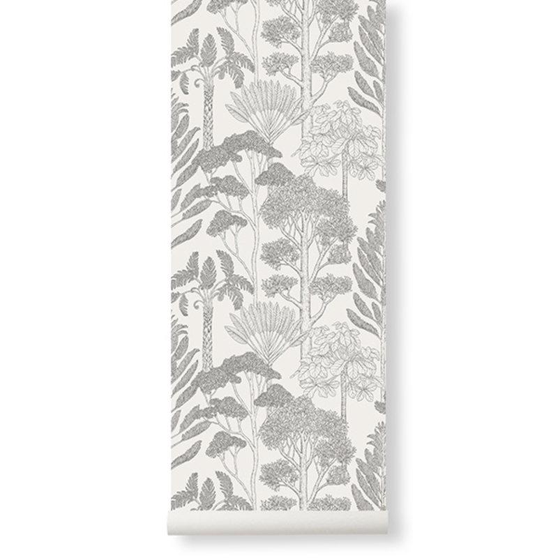 ferm LIVING-collectie Katie Scott behang - Trees  - Off-white