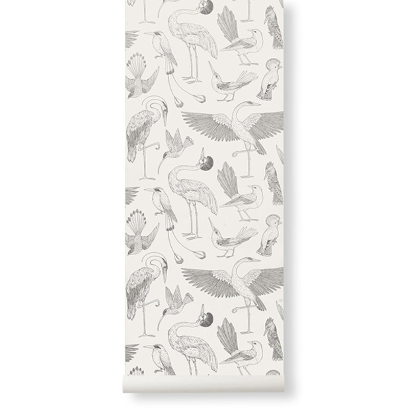 ferm LIVING-collectie Katie Scott behang - Birds - Off-white