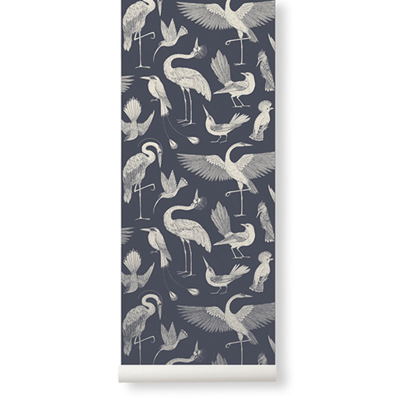 ferm LIVING-collectie Katie Scott Wallpaper - Birds - Dark Blu