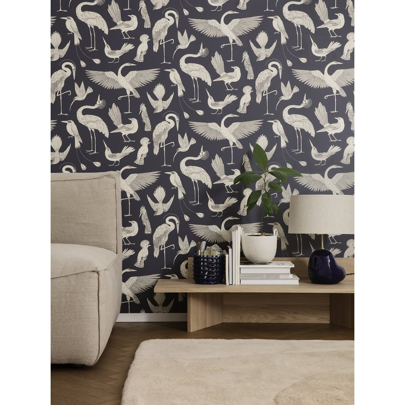 ferm LIVING-collectie Katie Scott behang - Birds - Donkerblauw