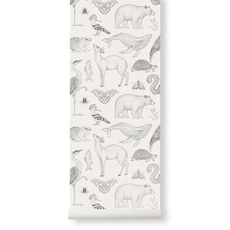 ferm LIVING Katie Scott Wallpaper - Animals - Off-wh
