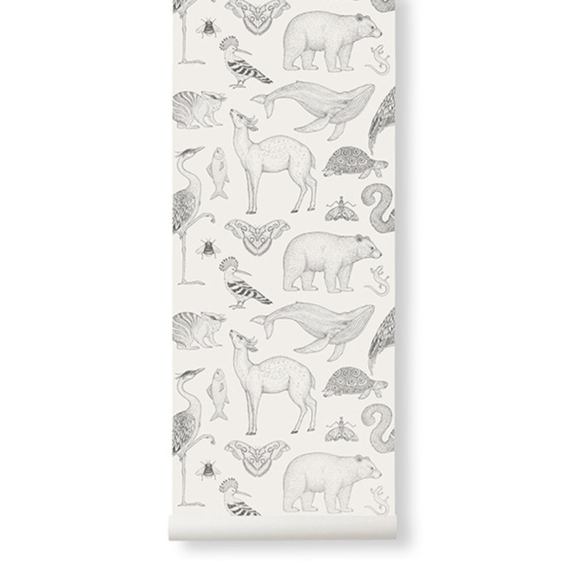 ferm LIVING-collectie Katie Scott Wallpaper - Animals - Off-wh