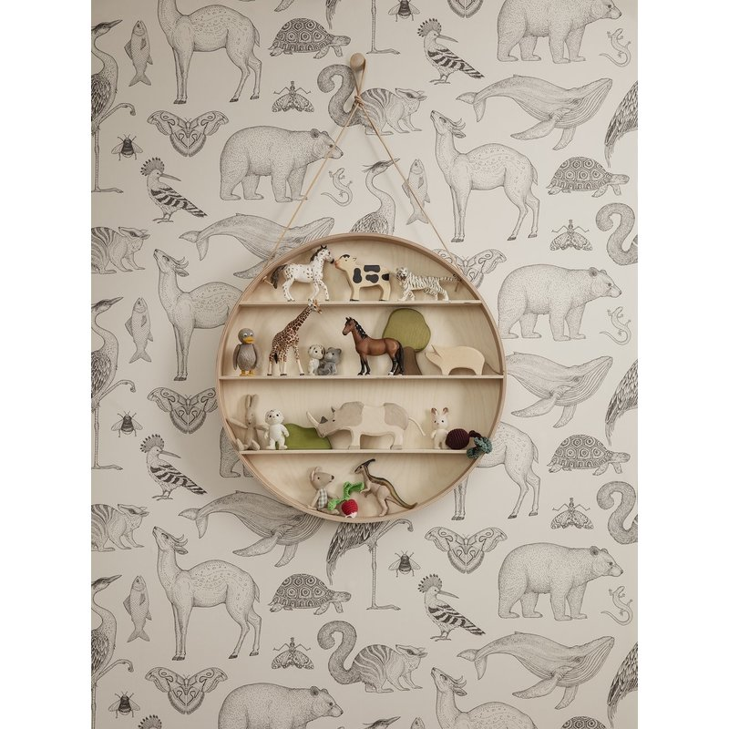 ferm LIVING-collectie Katie Scott behang - Animals - Off-white