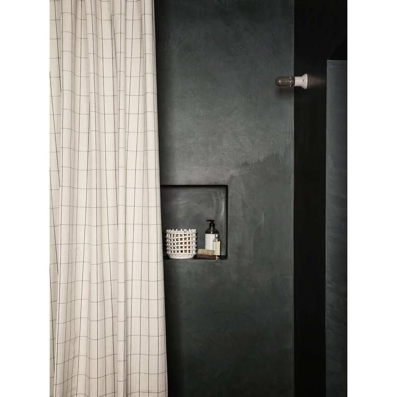 ferm LIVING-collectie Chambray Shower Curtain - Grid - Sand
