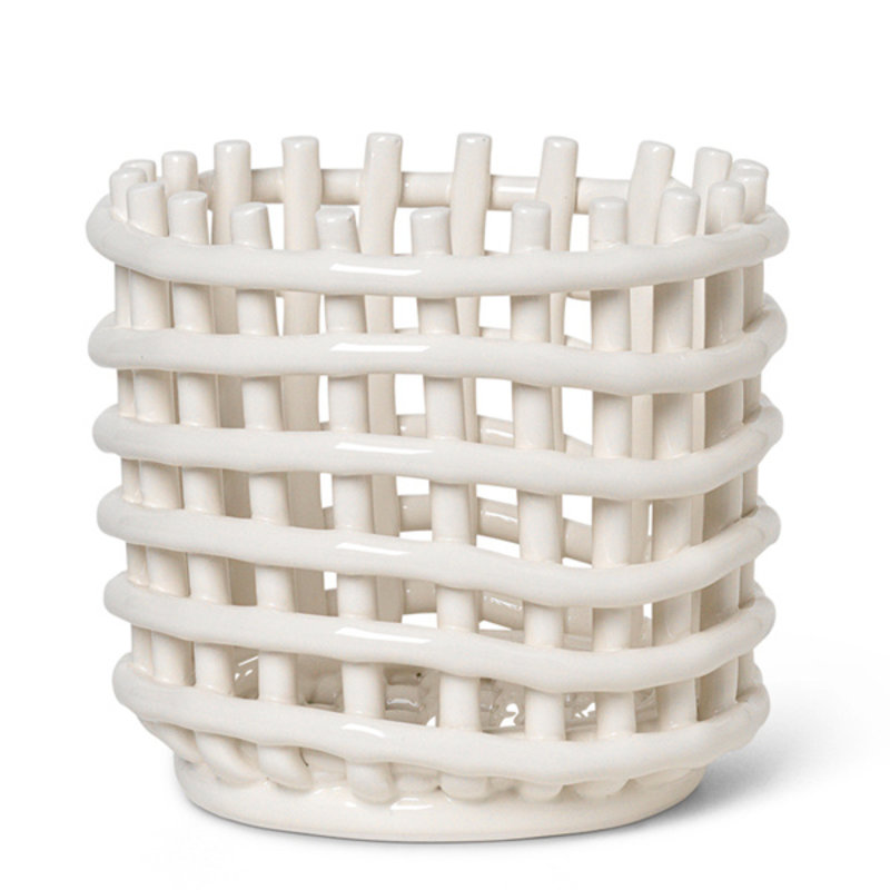 ferm LIVING-collectie Keramiek mand  - klein - Off-White