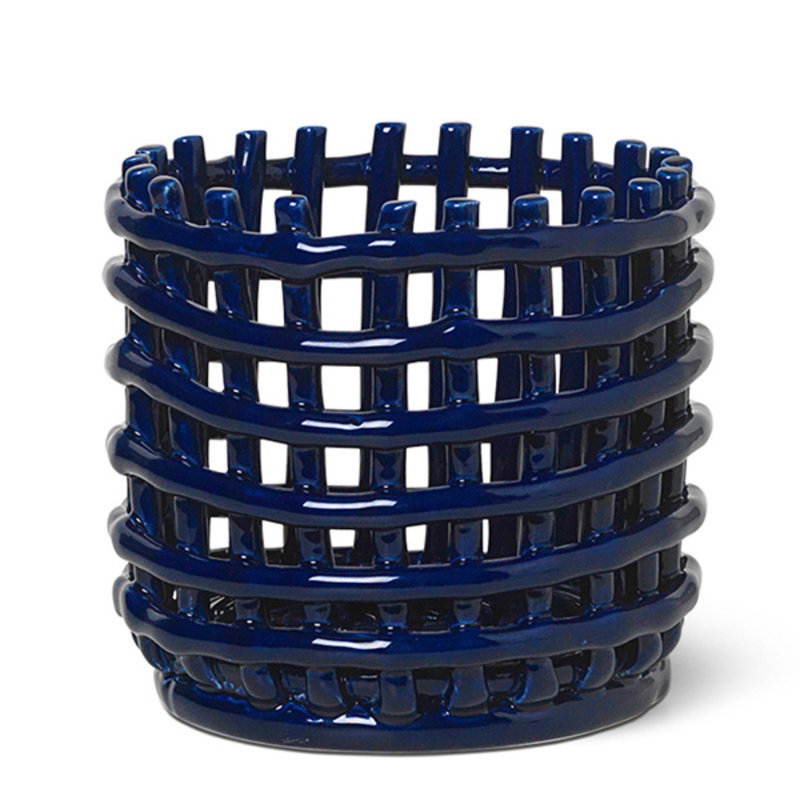 ferm LIVING-collectie Ceramic Basket - Small - Blue