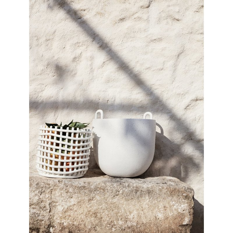 ferm LIVING-collectie Ceramic Basket - Large - Off-White