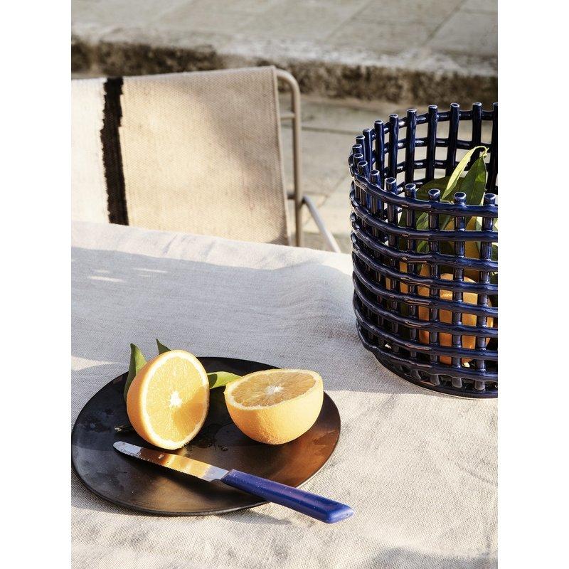 ferm LIVING-collectie Ceramic Basket - Large - Blue