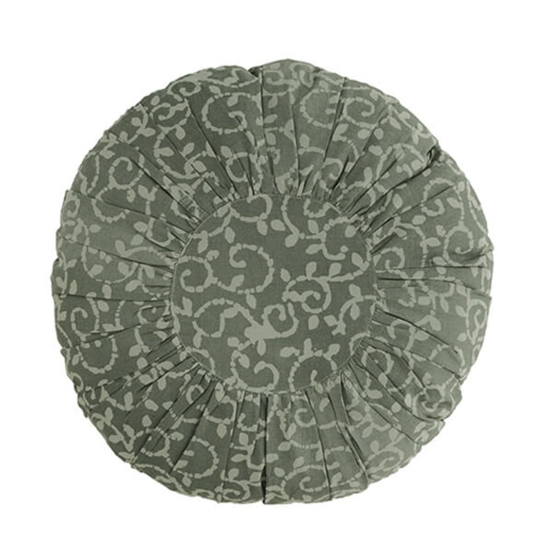 Madam Stoltz-collectie Rond kussen met print Dusty green, dusty stone