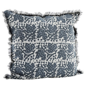 Madam Stoltz Kussenhoes met print Dusty stone, dark blue, dusty blue