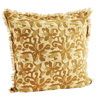 Madam Stoltz Printed cushion cover w/ fringes