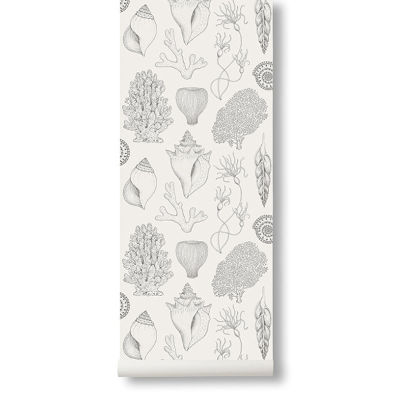 ferm LIVING-collectie Katie Scott behang - Shells  - Off-white