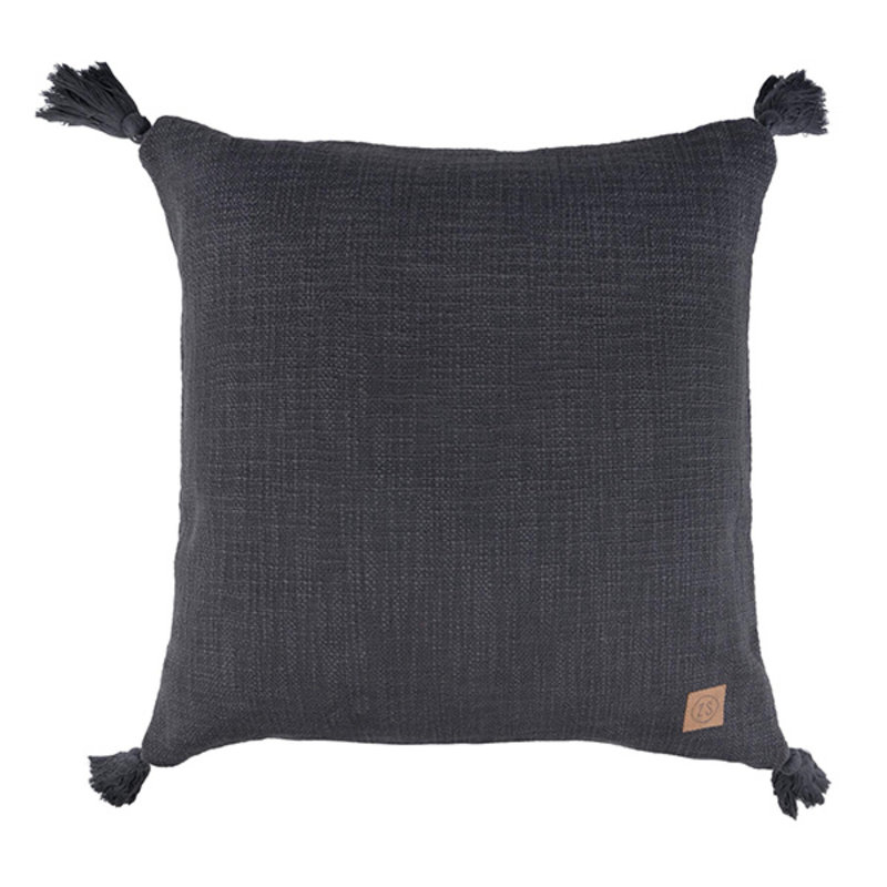 Zusss-collectie Cushion with tassels off-black