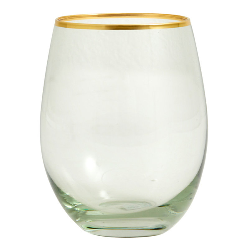 Nordal-collectie GREENA drinking glass w. gold rim