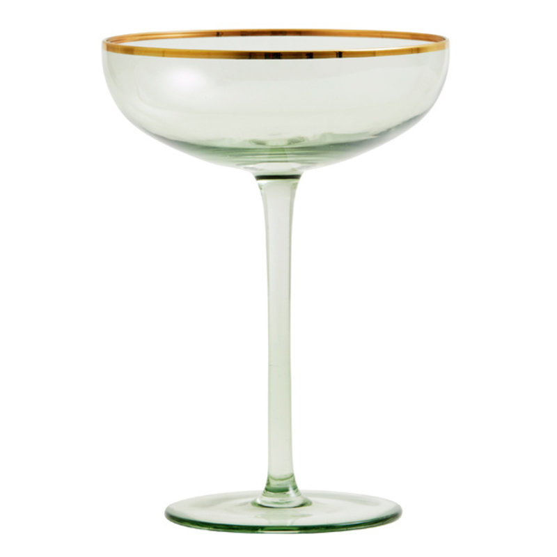 Nordal-collectie Cocktailglas GREENA groen-goud