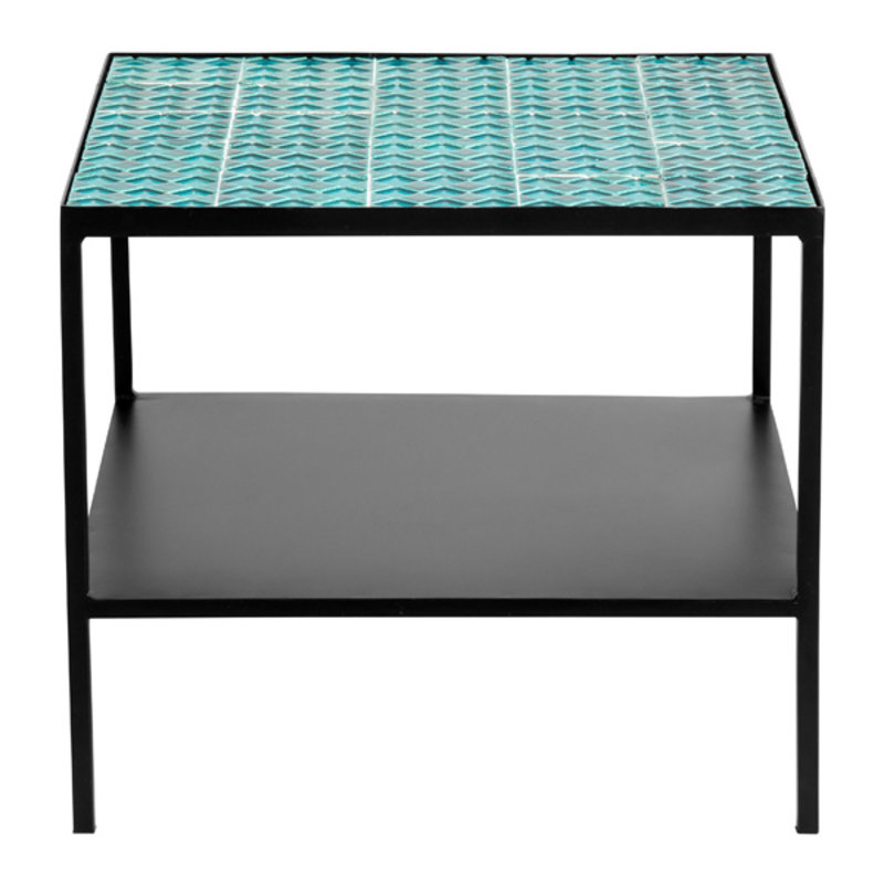 Nordal-collectie AQUA tile table, turquoise, black iron