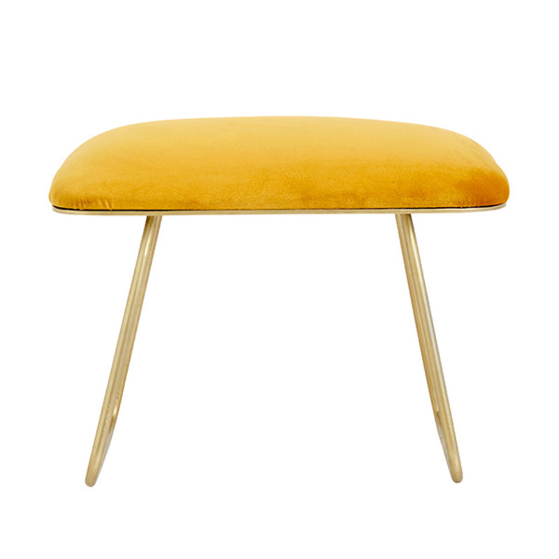 Nordal-collectie WARM yellow stool, golden legs, iron