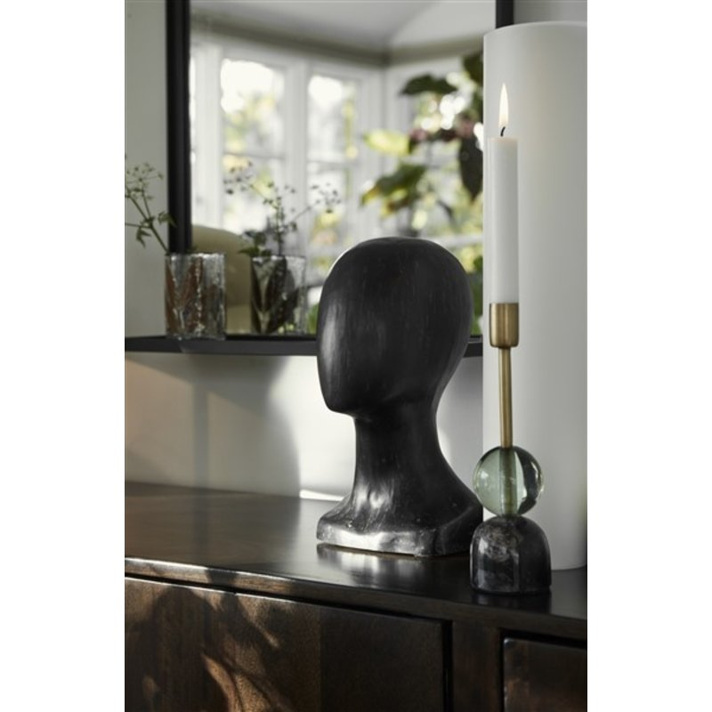 Nordal-collectie MARBLE candle holder S, black/green/gold
