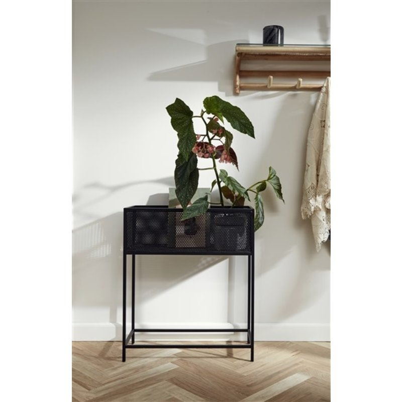 Nordal-collectie Rattan shelf w/4 hooks, top glass