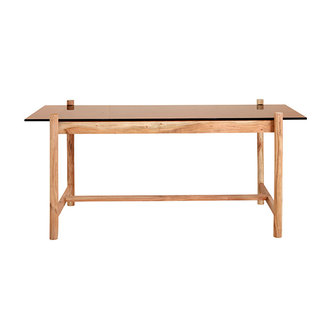 Nordal AMBER dinner table, square, wood/glass