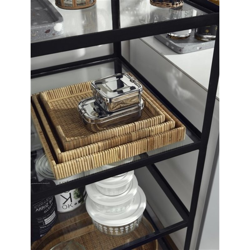 Nordal-collectie Iron rack w/wheels, glass shelves, black