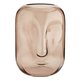 Madam Stoltz glass vase with face imprint rose