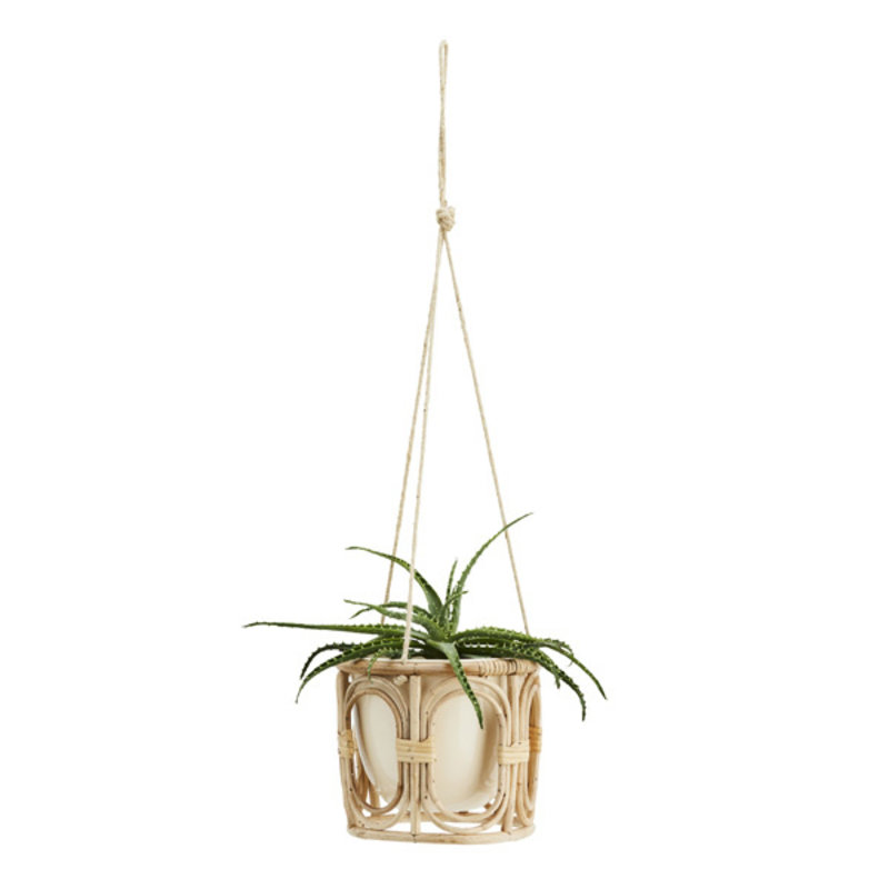 Madam Stoltz-collectie Hanging iron flower pot with bamboo