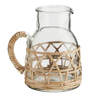 Madam Stoltz glass jug with bamboo cane