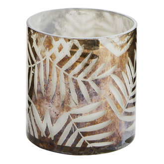 Madam Stoltz glass votive with leaves
