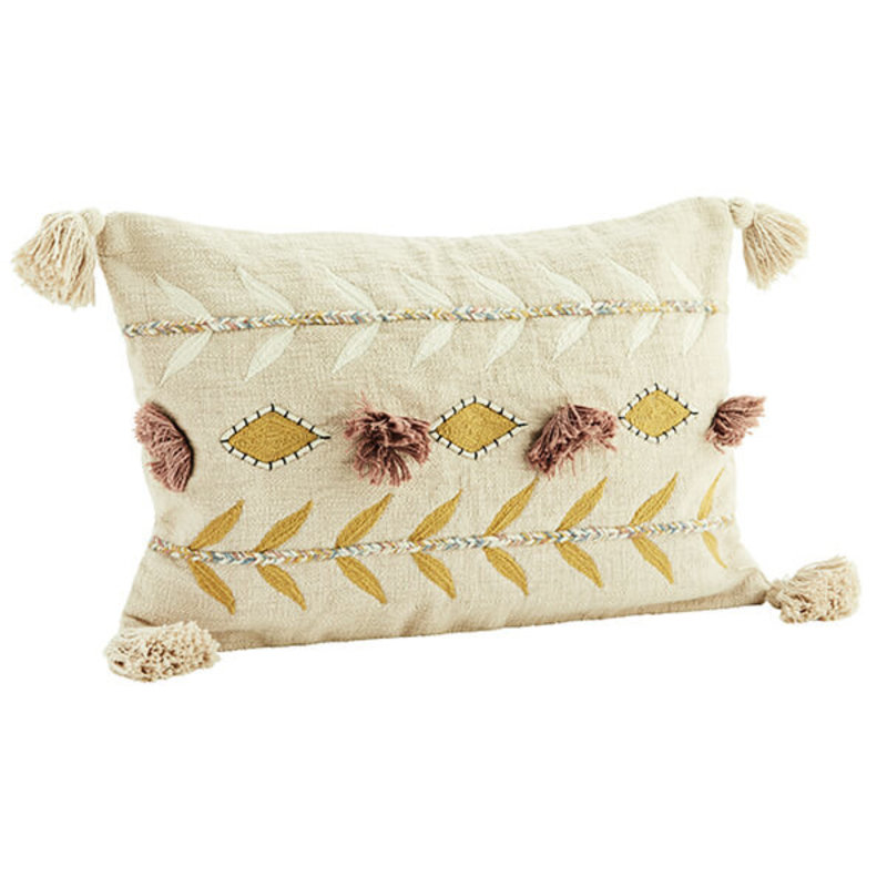 Madam Stoltz-collectie Embroidered cushion cover with tassels