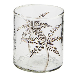 Madam Stoltz glass votive with cutting D:8x9 cm