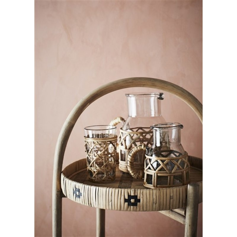 Madam Stoltz-collectie glass jug with bamboo cane