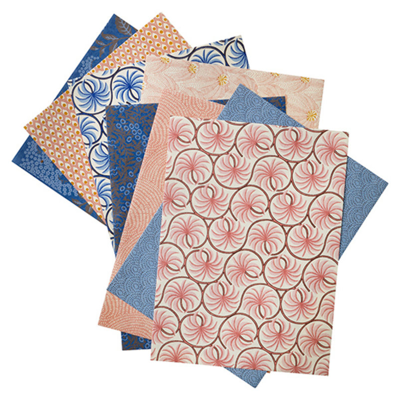 Bungalow-collectie Pakpapier set 8 vellen assorti roze-blauw