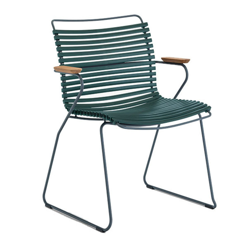 Houe-collectie CLICK Dining Chair with Armrests in bamboo pine green