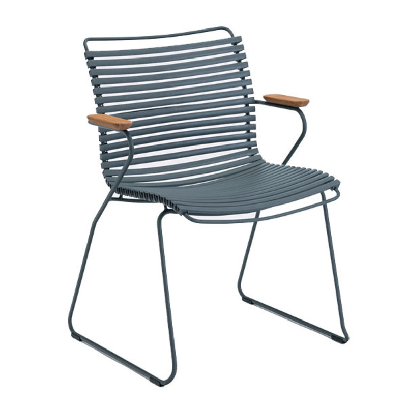 Houe-collectie CLICK Dining Chair with Armrests in bamboo dark grey