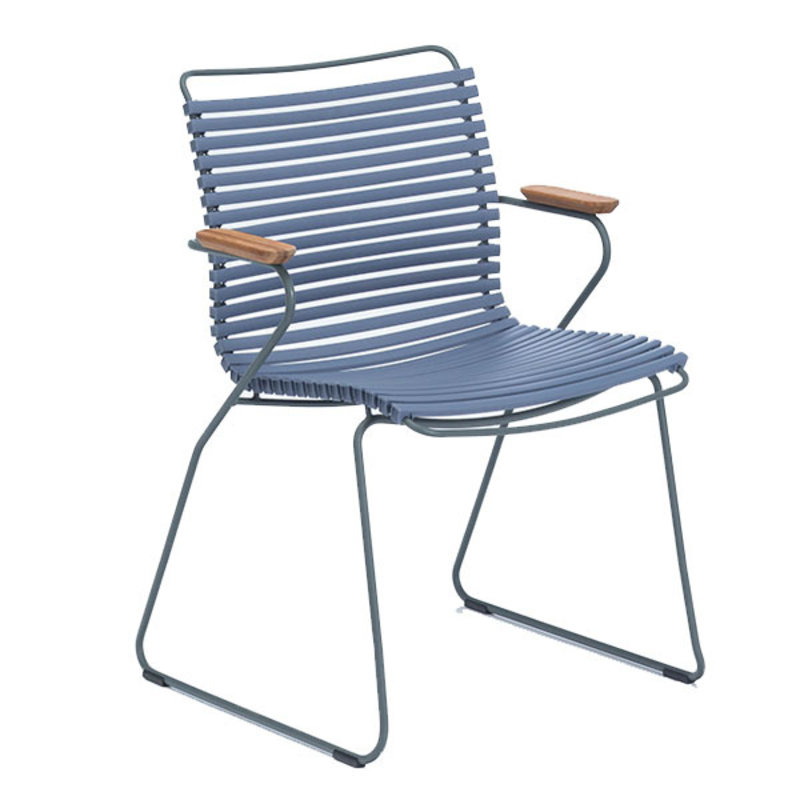 Houe-collectie CLICK Dining Chair with Armrests in bamboo pigeon blue